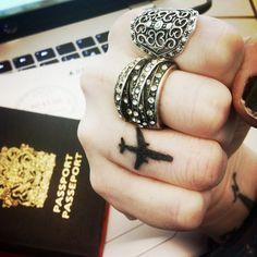 MINE : airplane knuckle tattoo #fingertattoo