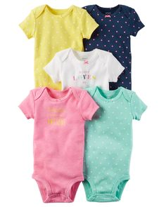 Crafted in babysoft cotton with sweet prints and slogans, these quick change bodysuits are the perfect starters to any little outfit.