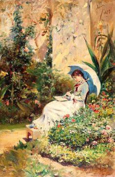 Leitura no jardim, 1879 Theodor Aman (Romênia, 1831-1891) óleo sobre tela, 19 x 12cm