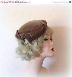 20% OFF 50s Mocha Velvet Toque - Bows and Feather Trim