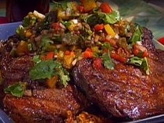 Grilled Rib-Eye with Roasted Pepper Salsa from CookingChannelTV.com