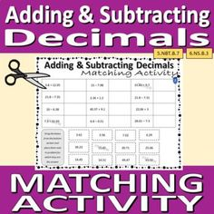 Matching Activity (cut and paste) - Adding and Subtracting Decimals