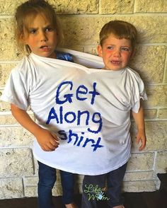 Only had to bust out this get along shirt a few times during a sibling fight and found it to be highly effective! Get Along Shirt, Sibling Fighting, Mom Humor, Siblings, Parenting Hacks, Little Boys, Laughter, Brother, T Shirts For Women
