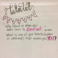 "49 Likes, 1 Comments - Janna (@lovin7th) on Instagram: ""What are some of your talents? #miss5thswhiteboard #teachersofinstagram #teachersfollowteachers…"""