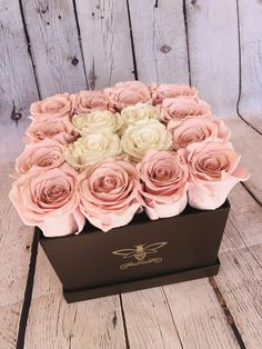 Preserved Pink and White Rose Arrangement in a Chocolate Brown Square Gift Box A. Flower Box Gift, Flower Boxes, Rose Care, Gift Bouquet, Box Roses, Preserved Roses, Rose Arrangements, Luxury Flowers, Rose Gift