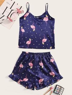 To find out about the Flamingo Print Polka Dot Satin Cami PJ Set at SHEIN, part of our latest Night Sets ready to shop online today! Cute Pajama Sets, Cute Pjs, Cute Pajamas, Pj Sets, Cute Sleepwear, Lingerie Sleepwear, Lingerie Set, Nightwear, Pyjama Satin