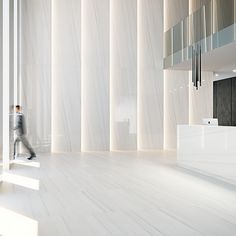 Image 1 of 2 from gallery of Porcelain Tiles - Coverlam Duomo Lobby Interior, Interior Lighting, Interior Architecture, Wall Lighting, Ceiling Design, Wall Design, House Design, Design Design, Modern Office Design
