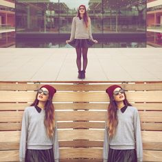 American Apparel Raglan Pullover, American Apparel Chiffon Button Up, Asos Skater Skirt, Forever 21 Wedge Sneakers, Target Knit Hat