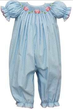 dc2a11fcd96 Petit BeBe Girl s Smocked Baby Owls Bishop Long Bubble Romper