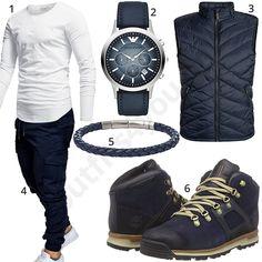 Lässiger Street-Style mit Longsleeve, JoggChino und Weste #blau #weiss #boots #longsleeve #uhr #armband #outfit #style #herrenmode #männermode #fashion #menswear #herren #männer #mode #menstyle #mensfashion #menswear #inspiration #cloth #ootd #herrenoutfit #männeroutfit