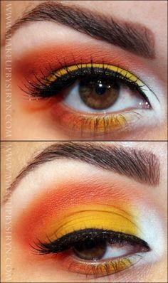 Candy Corn makeup!  https://www.facebook.com/robynmkbeauty                                                                                                                                                                                 More