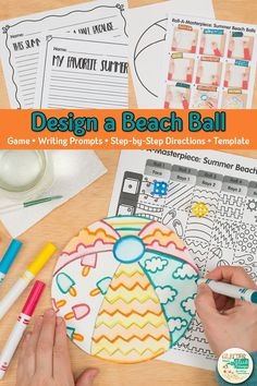 Here's a fun summer beach ball drawing art game for elementary art students. Art Games For Kids, Art Lessons For Kids, Art Lessons Elementary, Summer Art Projects, Summer Crafts For Kids, Projects For Kids, Art Drawings For Kids, Drawing For Kids, Art Sub Plans