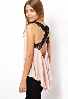 Pink Lace Criss Cross Dipped Hem Top: Love it