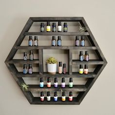 Pisgah XL - Hexagon Essential Oil / Spice / Nail Polish Shelf / Storage The Pisgah - Hexagon Essential Oil / Spice / Nail Polish Shelf / StorageThe Pisgah - Hexagon Essential Oil / Spice / Nail Polish Shelf / Storage Essential Oil Rack, Essential Oil Storage, Spice Nails, Crystal Shelves, Hexagon Shelves, Wooden Shelves, Display Shelves, Home Crafts, Decoration