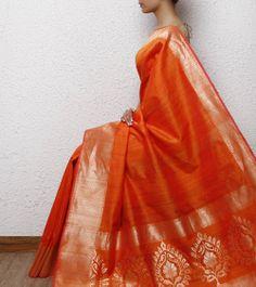 Orange Silk Handwoven Saree