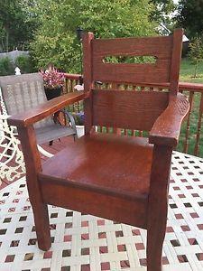 Antique Stickley Era Mission Arts Crafts Solid Oak Childs Chair | eBay