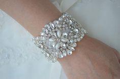 Hey, I found this really awesome Etsy listing at https://www.etsy.com/listing/201247910/crystal-vintage-wedding-bride-cuff