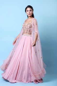 Rose Corset Cape Lehenga Set