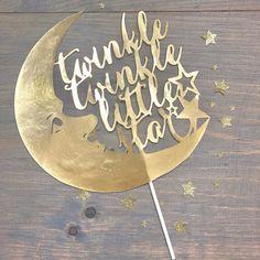 'Twinkle Twinkle Little Star' Gold Cake Topper. #twinkletwinklelittlestar #babyshowerideas #caketopper #caketopperforbabyshower #goldcaketopper https://www.etsy.com/listing/596394773/cake-topper-baby-shower-cake-topper?ref=shop_home_active_12