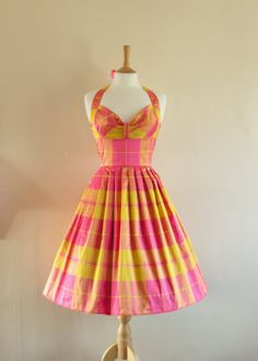 Dig For Victory on Etsy. Pink and Yellow Silk Taffeta Halterneck Prom Dress, £130.00 (I love this plaid! So cute!)