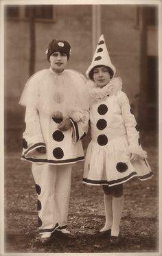 Pierrot Couple of Clowns in Fancy Romantic Venetian Costumes ...