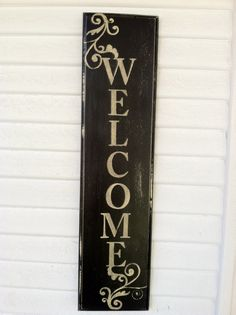 Hand Painted Aged Wooden Welcome Sign by Lauralei Design Pallet Crafts, Pallet Art, Wooden Welcome Signs, Wooden Signs, Diy Signs, Wall Signs, Painted Boards, Wood Boards, Porch Signs