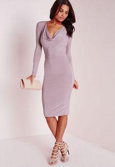 Slinky Cowl Front Midi Dress Mauve - Dresses - Midi Dresses - Missguided