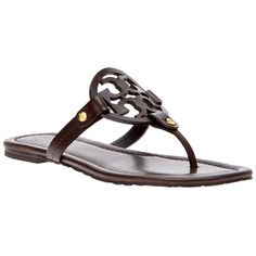 d88a8eae50d5d5 TORY BURCH  Miller  sandal ( 260) ❤ liked on Polyvore Brown Flat Shoes