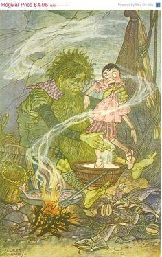 30% OFF SALE Vintage Charles Folkard Pinocchio Print, Illustration, Collodi, Green Fisherman