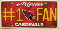 Arizona Cardinals number 1 Fan NFL Football License Plate Tag #ArizonaCardinals