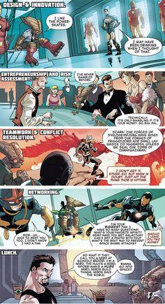 "Tony Stark: Mentor.  ""Just hit the thing Thor's hitting""   ""I'm a nerd.  The Hulk's a nerd.  Spiderman's a huge nerd."" (A+X #17)"