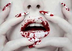 #lips #nails #blood #design