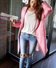 annyother | oversized pink coat + ripped skinny jeans