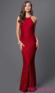 Buy Burgundy Lace Floor Length Open Back Dress at PromGirl