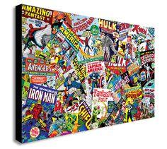 MARVEL COMICS COLLAGE Canvas Wall Art Framed Print. Various Sizes   | eBay