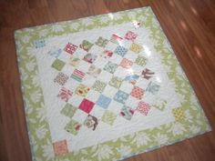 Mini Charm Square Table Topper pattern on Craftsy.com - make lap quilt size with charm squares