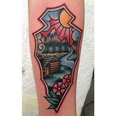 "beadorned: ""🌞🌸🌲 (at New York Adorned) "" Cabin Tattoo, American Tattoos, American Traditional, Cool Tattoos, Amazing Tattoos, Tattoo You, Tattoo Inspiration, Old School"
