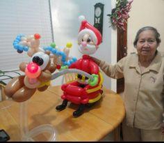 Santa claus and rudolf baloon decoration. #santa claus balloon character #santa…