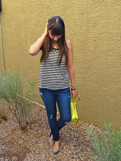 Striped Tank Top + Ripped Jeans + Kitten Heels  #outfit #style #blogger