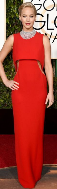 Jennifer Lawrence: Dress – Christian Dior Jewelry Chopard Shoes and purse – Roger Vivier
