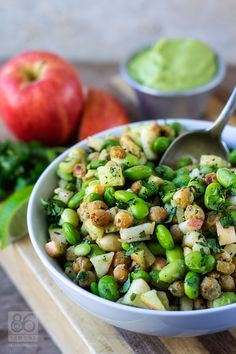 Edamame Chickpea Power Salad with Avocado-Lime Dressing.The combination of toasted chickpeas, chewy edamame, onion or shallot, ginger root, crunchy apples and cashews paired with the creamy avocado-lime dressing Heart Healthy Recipes, Vegetarian Recipes, Cooking Recipes, Delicious Recipes, Easy Cooking, Healthy Heart, Cooking Light, Vegan Meals, Diabetic Recipes