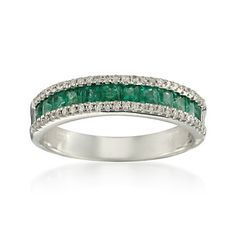 1.74 ct. t.w. Emerald and .20 ct. t.w. Diamond Ring in 14kt White Gold
