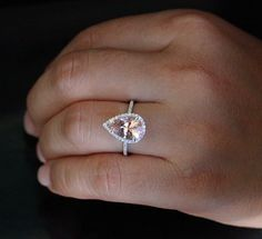 14k White Gold 12x8mm Morganite Pear and Diamonds Wedding or Engagement Ring (Choose color and size options at checkout)