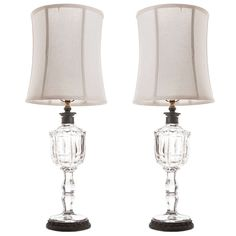 English 19th Century Pair of Oil (Now Electric) Crystal & Bronze Lamps | From a unique collection of antique and modern table lamps at http://www.1stdibs.com/furniture/lighting/table-lamps/