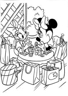 amigas Minnie e Margarida conversando, para colorir