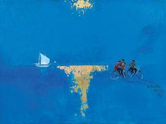 Spyros Vassiliou (Greek, Golden Sun, 1975 Mixed media on canvas Greece Painting, Greek Art, 10 Picture, Mixed Media Canvas, Beach Art, Conceptual Art, Printmaking, Modern Art, Portrait Photography