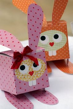 Divertidas Cajas con forma de Conejo para Imprimir Gratis.