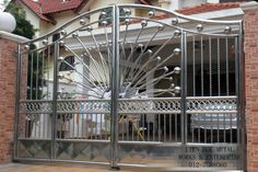 40 Amazing Folding Gate for Your House Fence Gate Design, Iron Gate Design, House Gate Design, Steel Bed Design, Steel Grill Design, Balcony Grill Design, Stainless Steel Railing, Sliding Gate, Iron Furniture