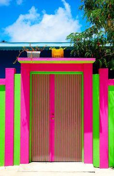 Bold neon front door and gate