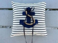 Nautical Anchor Ring Bearer Pillow  Beach by NauticalWeddings.   Only $32.  Buy here. Etsy .com